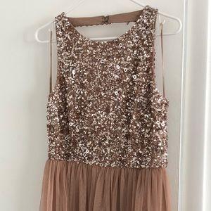 ASOS Petite Sequin Bodice Tulle Detail Maxi Dress